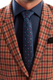 Closeup with plaid jacket and dots tie Royalty Free Stock Images