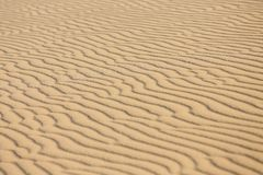 Closeup of plain pattern of white sand dunes with wind pattern diagonally. Full picture of closeup of white sand dunes with wind pattern diagonally without Stock Photography