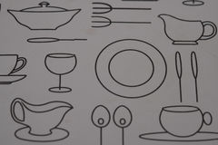 Closeup plastic table placemat. Closeup of plastic kitchen dinner table placemat with modern black and white design Stock Image