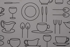 Closeup plastic table placemat. Closeup of plastic kitchen dinner table placemat with modern black and white design Stock Images