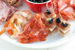 Closeup of plate of antipasti Royalty Free Stock Photography
