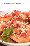 Closeup of a plate of Bruschetta Stock Image