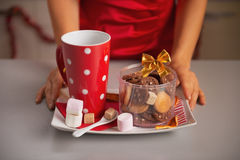 Closeup on plate with christmas cookies and cup of hot chocolate Stock Image