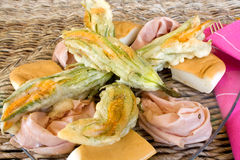 Closeup Of Plate With Fried Zucchini Flowers Royalty Free Stock Images