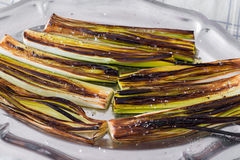 Closeup of a plate with leeks Stock Images