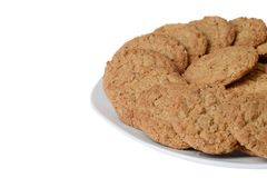 Closeup plate of oatmeal cookies Royalty Free Stock Images