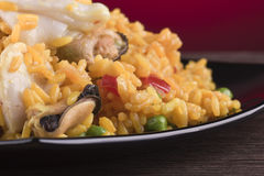 Closeup of a plate of seafood paella Stock Images