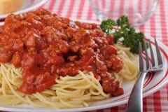Spaghetti Dinner Closeup Stock Photography
