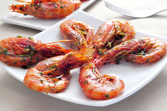 Spanish shrimps with garlic and parsley Royalty Free Stock Photo