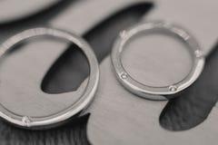 Wedding Rings. Closeup of platinum wedding rings stock photography