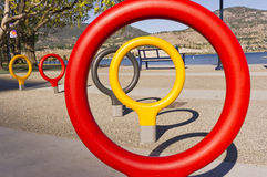 Closeup of play rings on sidewalk Stock Photo