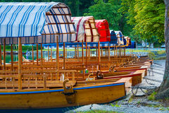 Closeup of pletna boats dock under a lakeside tree on Lake Bled in Slovenia Stock Images