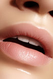Closeup plump Lips. Lip Care, Augmentation, Fillers. Macro photo with Face detail. Natural shape with perfect contour Stock Photos