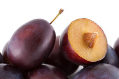 Closeup on plums, fresh fruits Royalty Free Stock Images