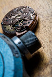 Closeup of pocket watch mechanism and clockworks Royalty Free Stock Image