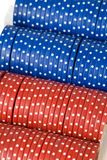 Closeup of poker chips in case on Stock Photos