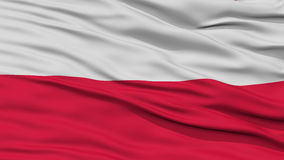 Closeup Poland Flag. Waving in the Wind, High Resolution Royalty Free Stock Image
