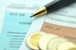 Closeup of polish tax forms Stock Image