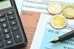 Closeup of polish tax forms Royalty Free Stock Images