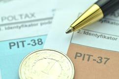 Closeup of polish tax forms Stock Photo
