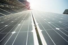 Closeup of polysilicon plate. Power plant using renewable solar energy with sun Royalty Free Stock Photography