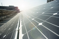 Closeup of polysilicon plate. Power plant using renewable solar energy with sun Stock Photography