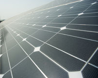 Closeup of polysilicon plate. Closeup of solar panels photovoltaic power plant Royalty Free Stock Photography