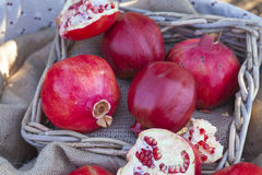 Closeup on pomegranates Stock Photos