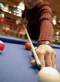 Closeup Pool Shot, Billiards. A closeup view of a billiards shot stock photography