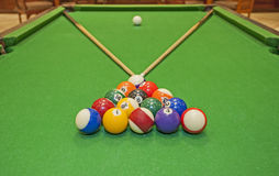 Closeup of a pool table with balls and cues. Closeup detail of a pool billiards tables with balls and cues stock photography
