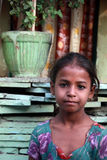 Closeup of a poor girl child from New Delhi, India Stock Images