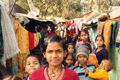 Closeup of a poor girl with a group slum india Royalty Free Stock Photo