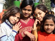 Closeup of poor girls from a new delhi slum Stock Images