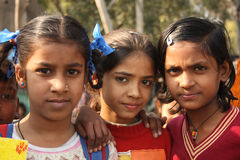 Closeup of poor indian children girls Royalty Free Stock Image