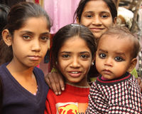 Closeup of poor indian children girls Stock Images