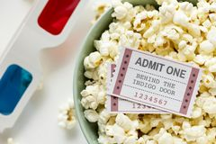 Closeup of pop corn cinema and movie entertainment concept Royalty Free Stock Image