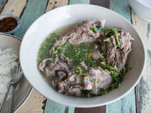 Closeup pork bone spicy soup. Tom yum, Tom Zap Royalty Free Stock Photo