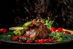 Closeup of pork ribs grilled with BBQ sauce and caramelized in honey. Tasty snack served with green seedlings on the plate. stock photography