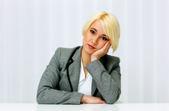 Closeup portait of a thoughtful beautiful businessswoman Royalty Free Stock Image