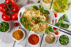 Closeup of a portion of spaghetti Royalty Free Stock Image
