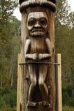 Closeup of portion of traditional Gitxsan totem poles Stock Photography