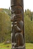 Closeup of portion of traditional Gitxsan totem poles Stock Photos
