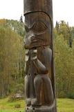Closeup of portion of traditional Gitxsan totem poles Stock Photos