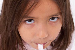 Closeup portrail of cute little girl with sugar jelly Royalty Free Stock Image