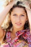Closeup portrain of a young woman stock photo