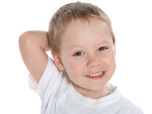 Closeup portrait of acute little boy Stock Photography