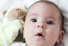 Closeup portrait of adorable baby Stock Images
