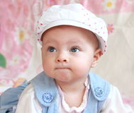Closeup portrait of adorable baby royalty free stock photos