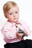 Closeup portrait of adorable baby businessman Stock Image