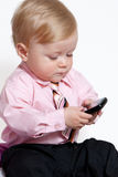 Closeup portrait of adorable baby businessman Royalty Free Stock Image